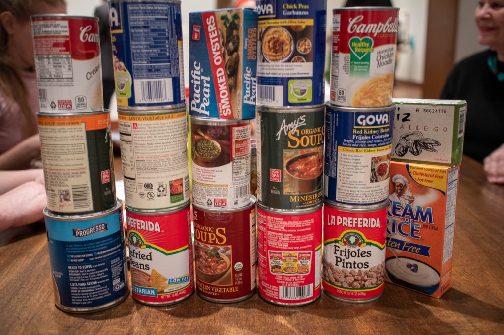 canned goods stacked on the table