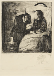 drawing of adult kneeling beside child in bed