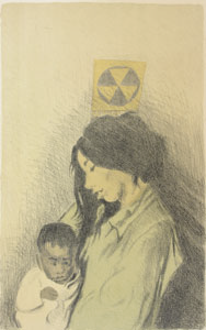 drawing of a woman holding a baby under a fallout shelter sign