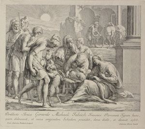 engraving of the birth of jesus, with a shepard showing the baby to a sheep