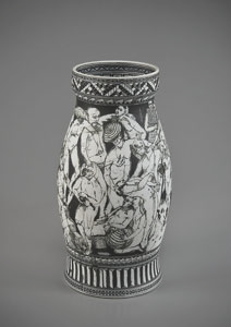 a porcelain vase with human figures