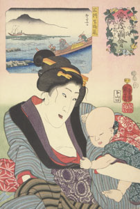 colorful block print of woman holding infant