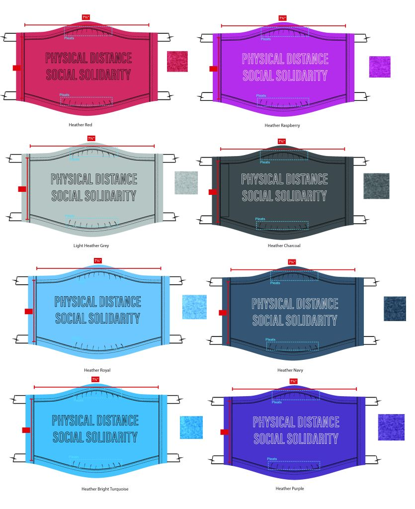 "Masks with text: ""Physical Distance/Social Solidarity"" in red, purple, grey, black, and 4 shades of blue"